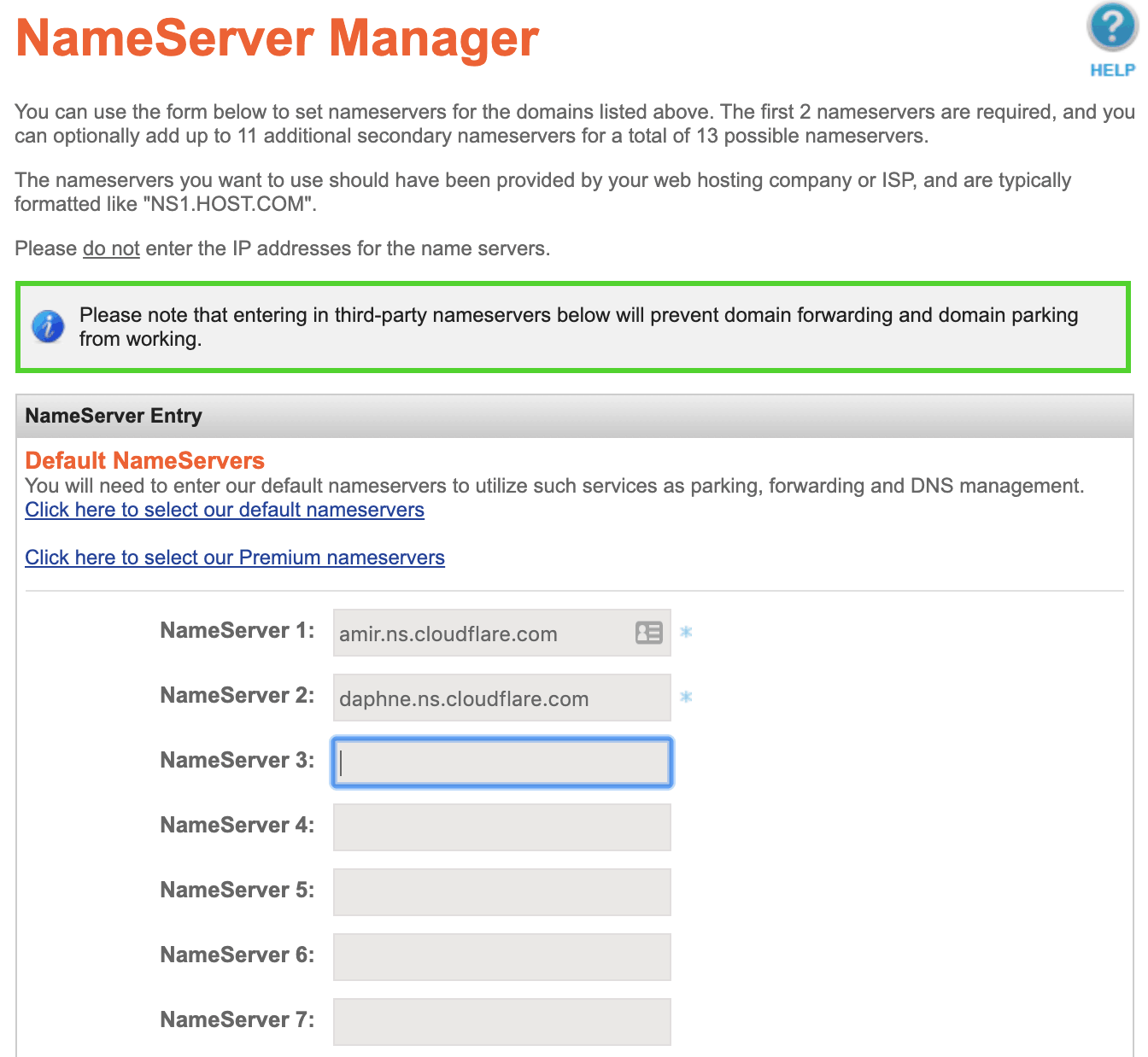 namesilo paste nameserver names