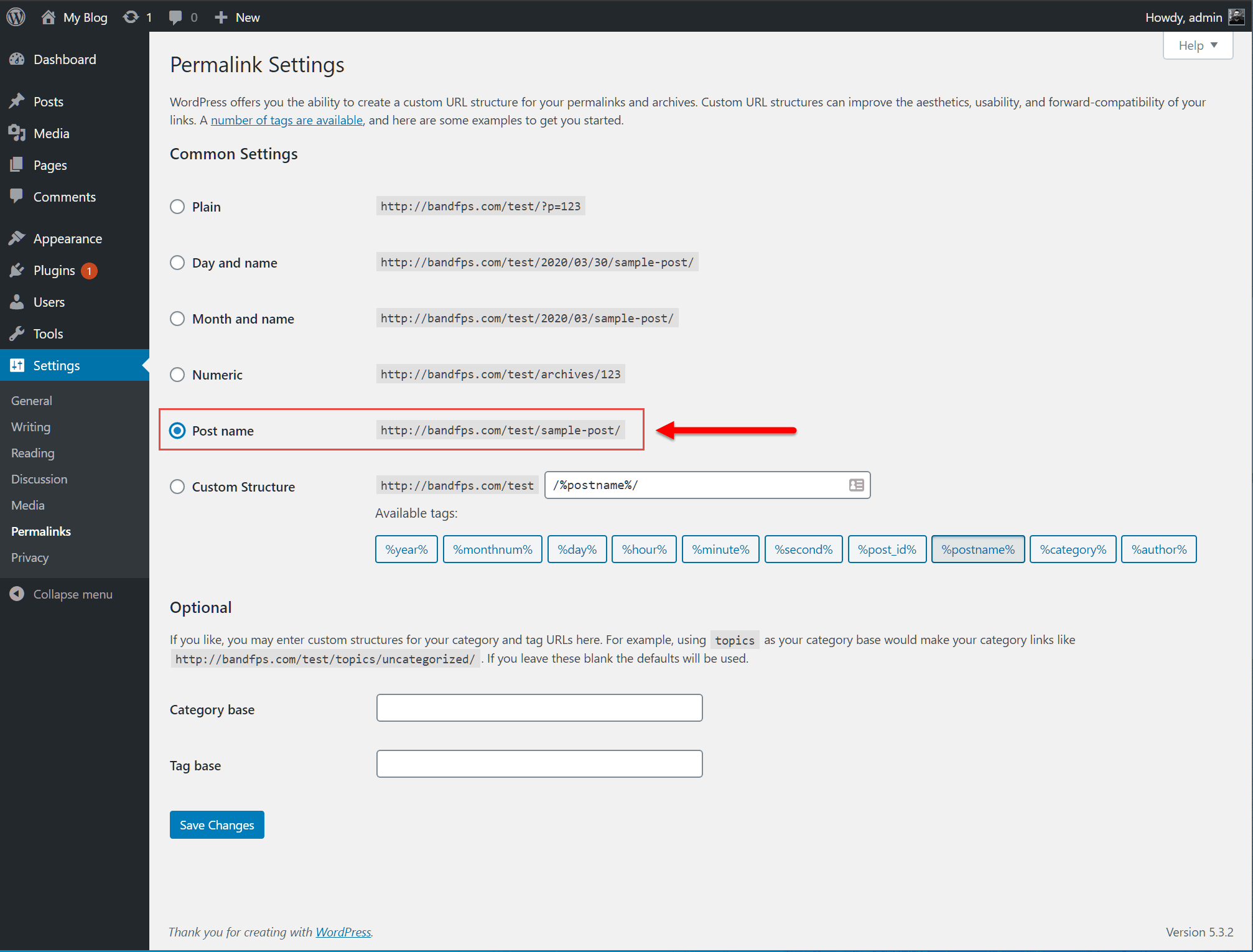 wordpress permalink settings