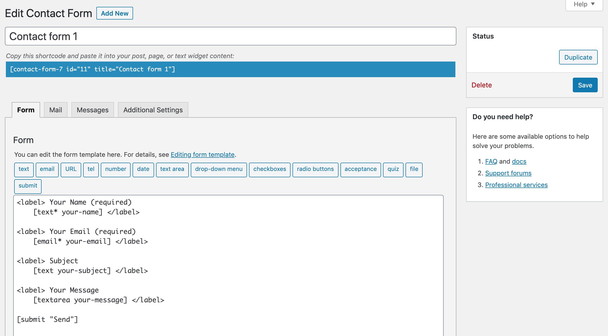contact form 7 edit contact form