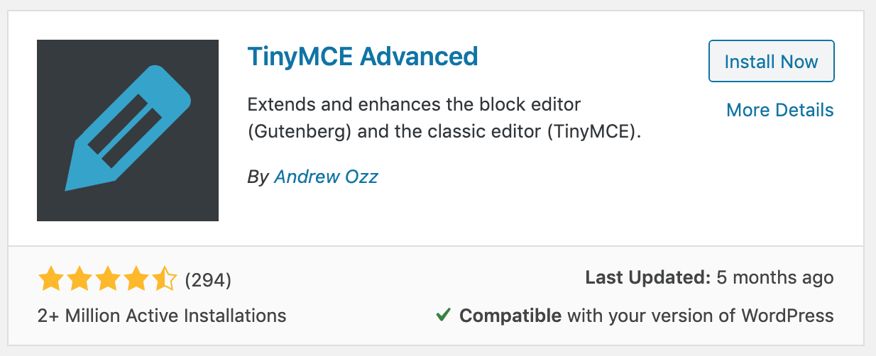 tinymce advanced wordpress plugin