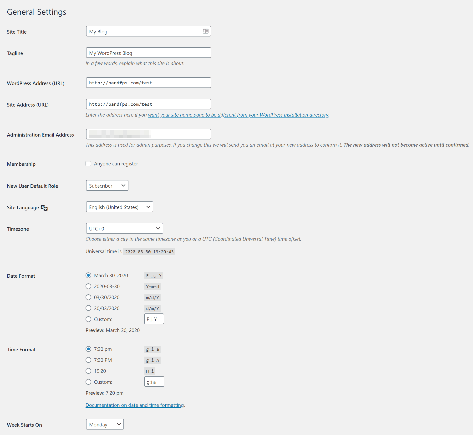 wordpress page settings