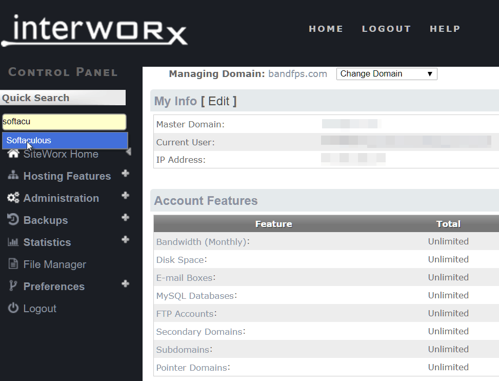 siteworx softaculous