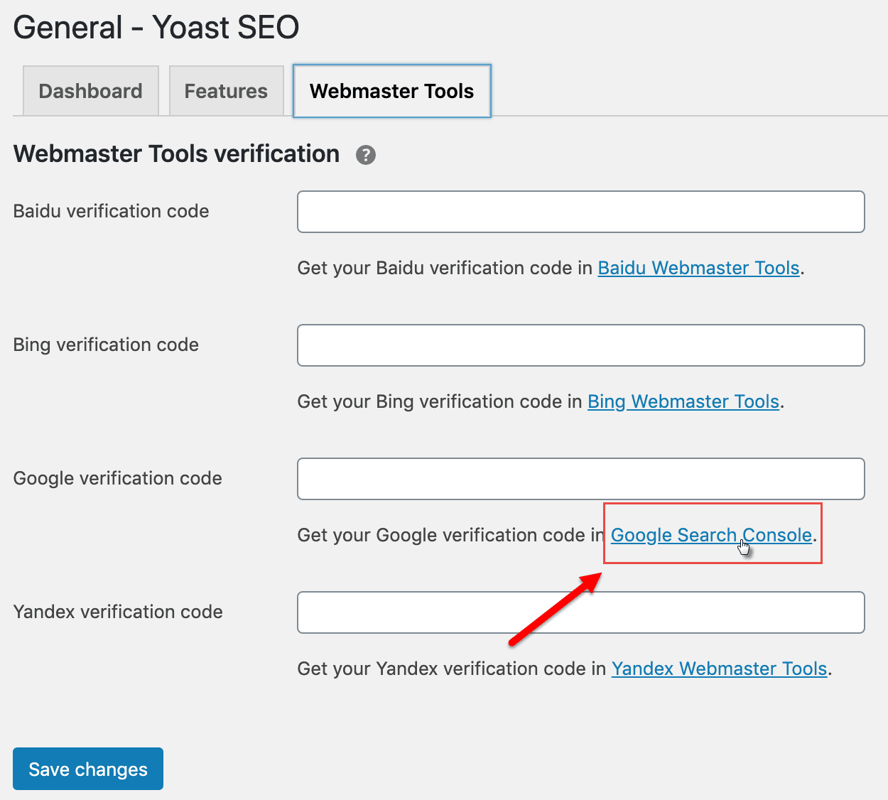 yoast google verification code