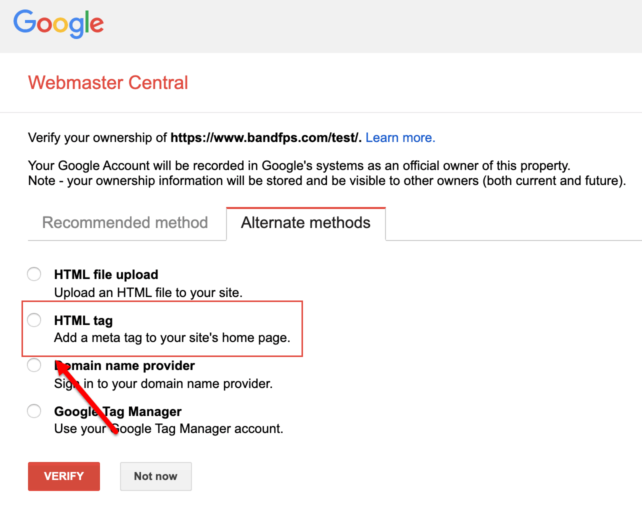 google verify domain ownership