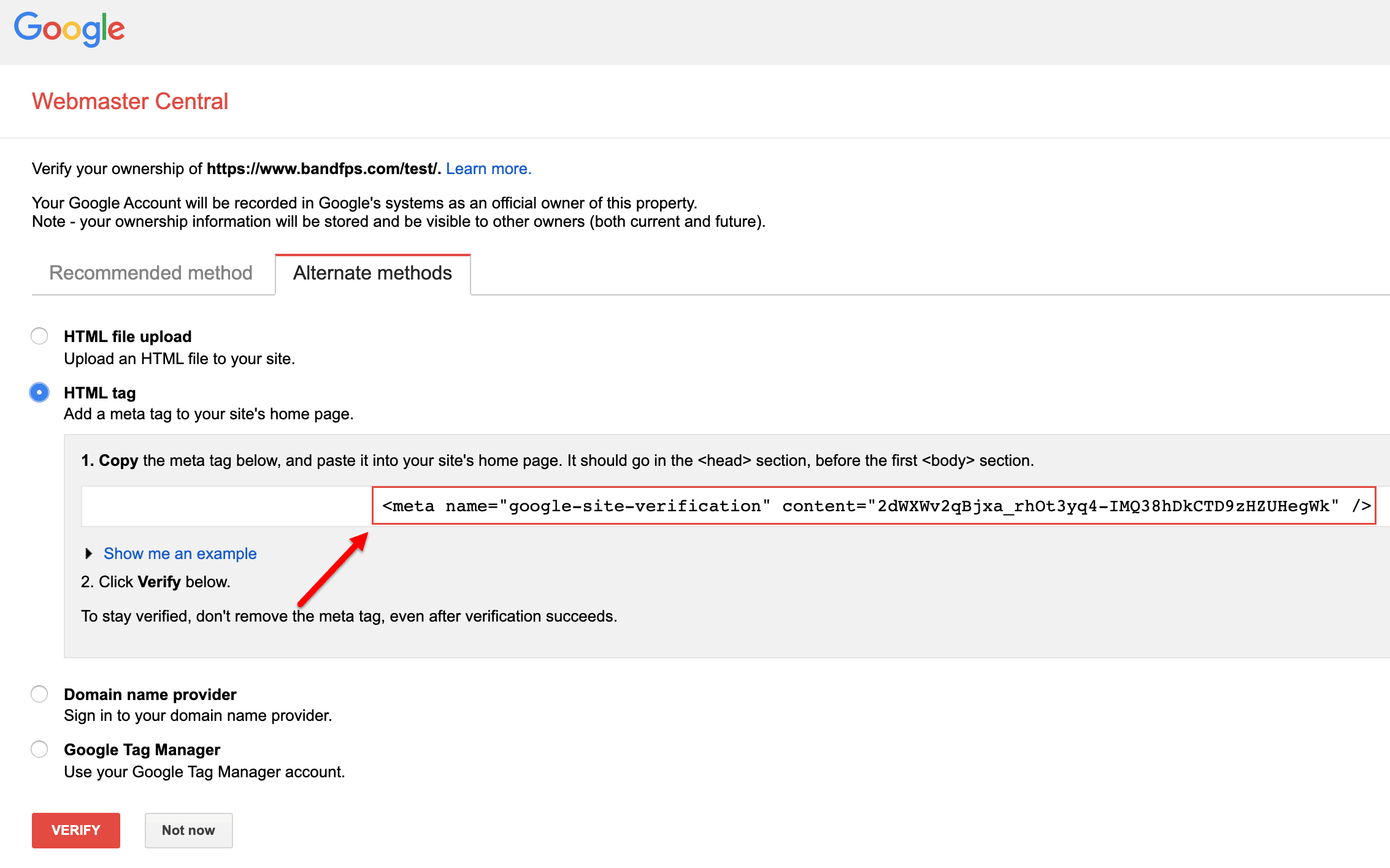 google site verification code