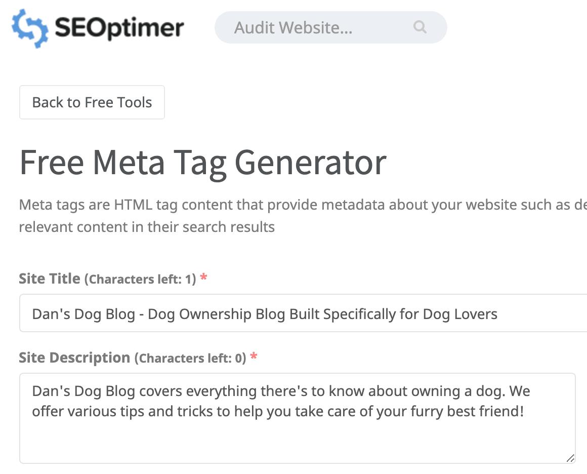seoptimer free meta tag generator